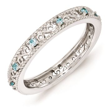 Picture of Sterling Silver Ring Blue Topaz Birthstones