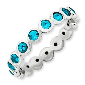 Picture of Silver Stackable Ring Round Swarovski Stones