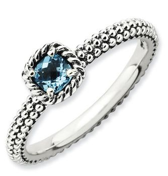 Picture of Silver Ring Checker-Cut Blue Topaz stone Antiqued