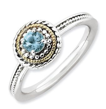 Picture of Silver Ring Blue Topaz stone 14K Gold accent