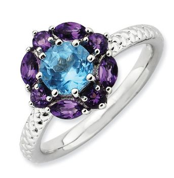 Picture of Silver Flower Ring Blue Topaz & Amethyst stones