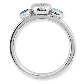 Picture of Silver Ring Round Shaped Blue Topaz & Diamond stones