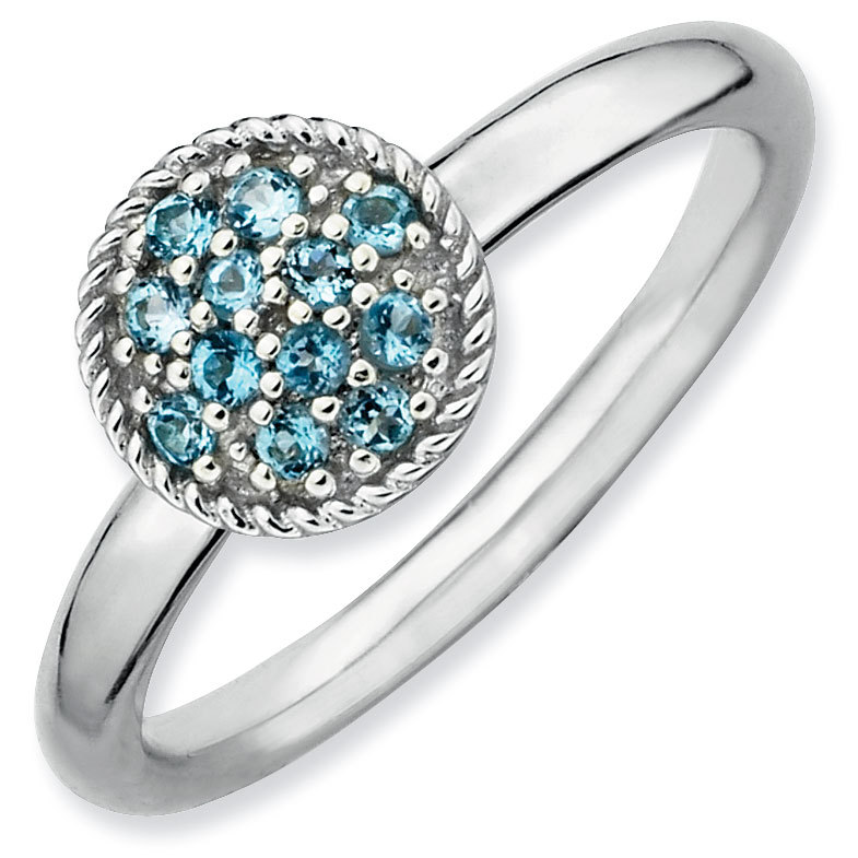 Picture of Silver Ring Round Shaped Blue Topaz stones