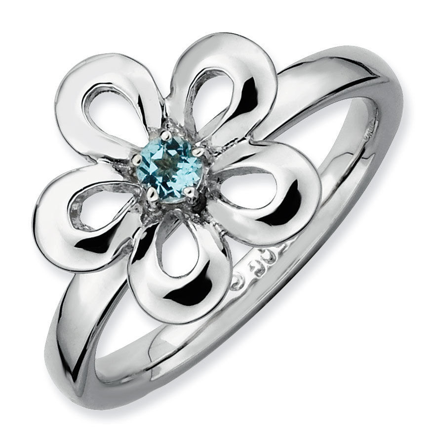 Picture of Silver Flower Ring Blue Topaz stone