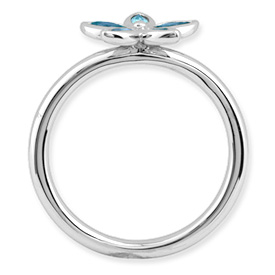 Picture of Silver Flower Ring Marquise Shaped Blue Topaz stones