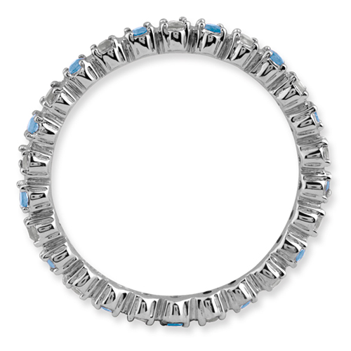 Picture of Silver Ring Blue Topaz & Diamond Stones
