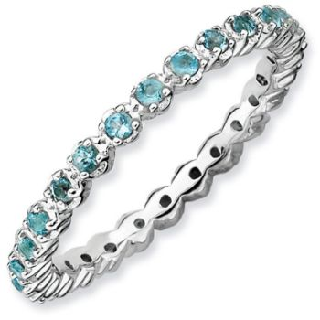 Picture of Silver Stackable Ring Blue Topaz stones
