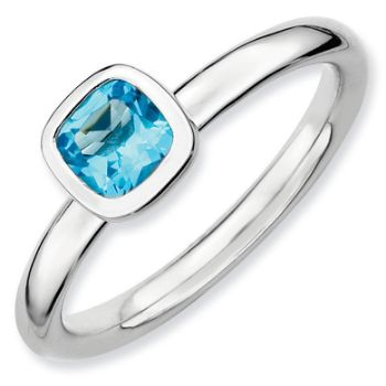 Picture of Silver Ring 1 Cushion Cut Blue Topaz stone