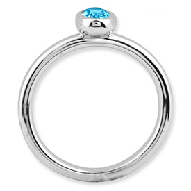 Picture of Silver Ring 1 Oval Blue Topaz stone