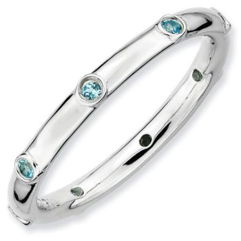 Picture of Silver Stackable Ring Band Blue Topaz stones