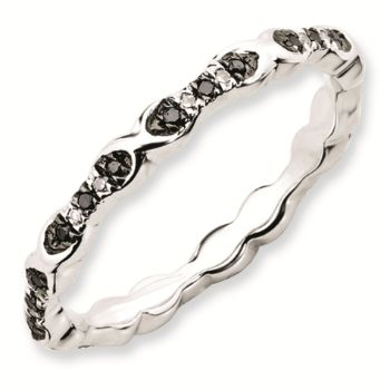Picture of Sterling Silver Stackable Black & White Diamond Ring