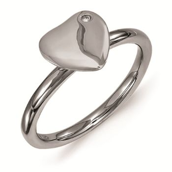 Picture of Sterling Silver Heart Ruthenium Plated Diamond Ring