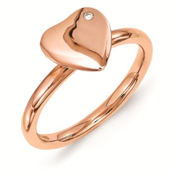 Picture of Sterling Silver Heart Rose Gold Plated Diamond Ring