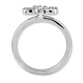 Picture of Silver Stackable Bow Diamond Ring