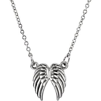 """Picture of 14K Gold Petite Angel Wings 18"""" Necklace"""