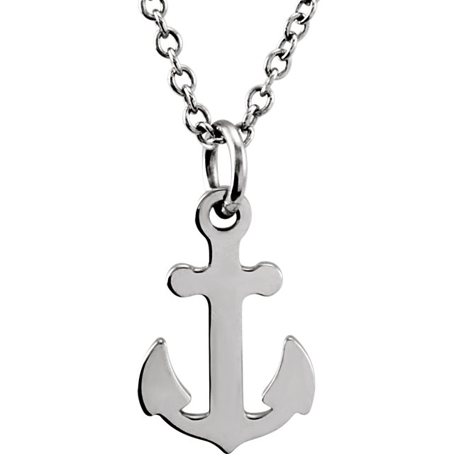 """Picture of 14K Gold Petite Anchor 18"""" Necklace"""