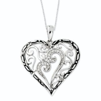 Picture of Silver CZ Heart Pendant, A Mother's Touch