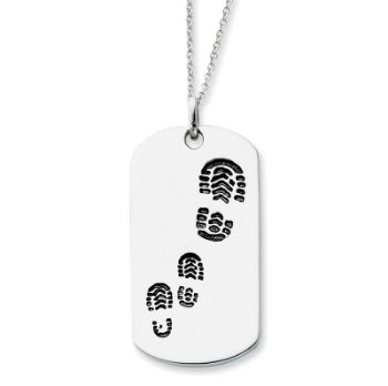 Picture of Silver Antiqued Footsteps Necklace
