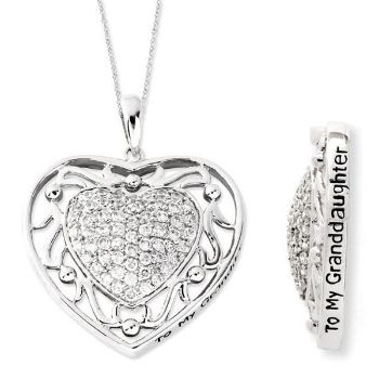 Picture of Silver CZ Heart Pendant, To My Granddaughte