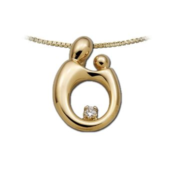 Picture of Large Mother Child Diamond Pendant 14K Yellow Gold