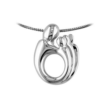 Picture of Mother & Three Children Pendant 14K White Gold