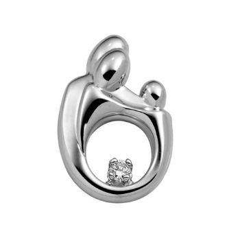 Picture of Small Family Diamond Pendant 14K White Gold