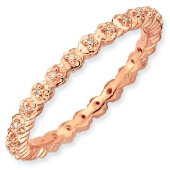 Picture of 18K Rose Gold Plated Silver Ring with Diamonds