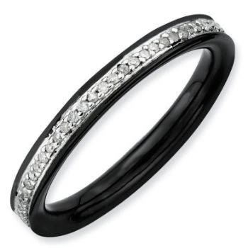 Picture of Silver Ring Black Ruthenium Plated with Diamonds