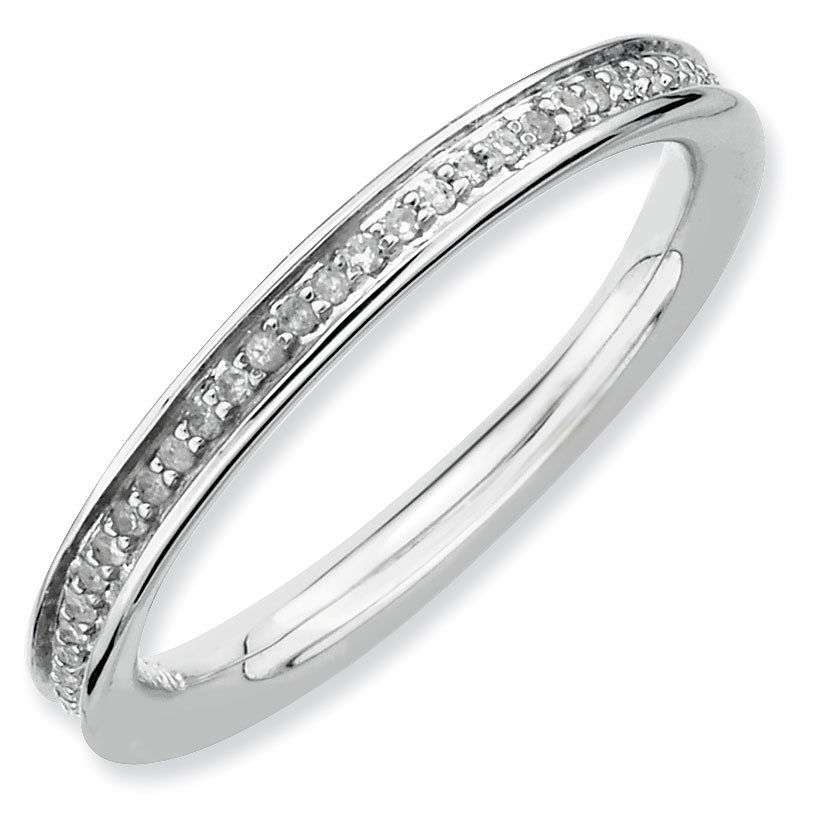 Picture of Silver Stackable Ring Rhodium-plated with Diamonds