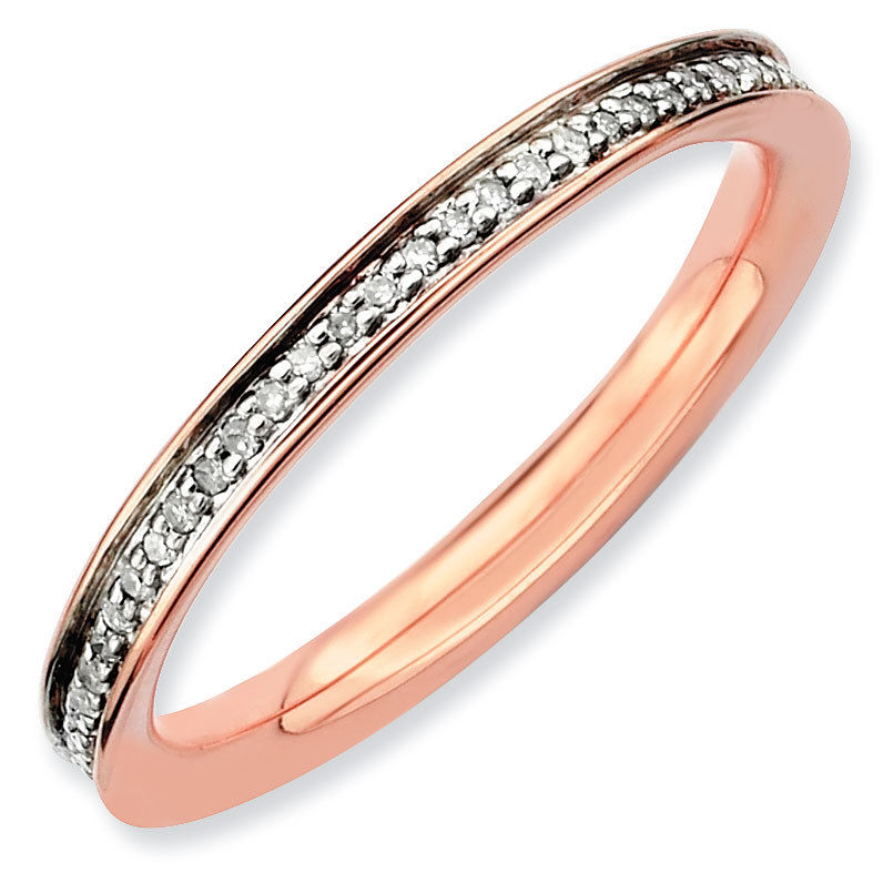 Picture of 18K Rose Gold-Plated Silver Ring with Diamonds