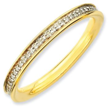 Picture of 18K Yellow Gold-Plated Silver Ring with Diamonds