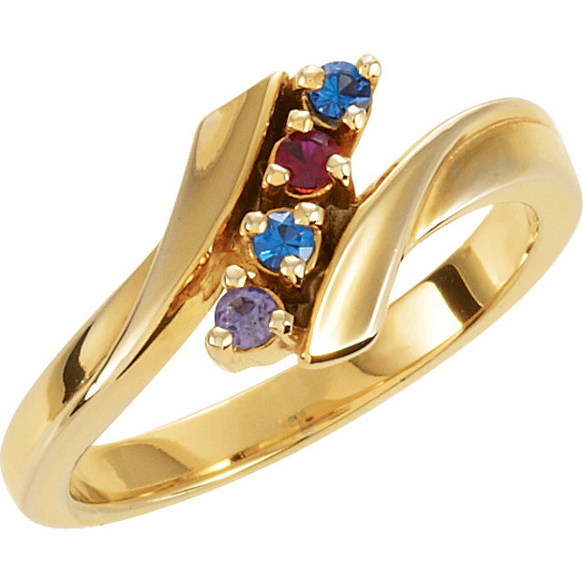Picture of Gold 1 to 7 Stones Mother's Ring