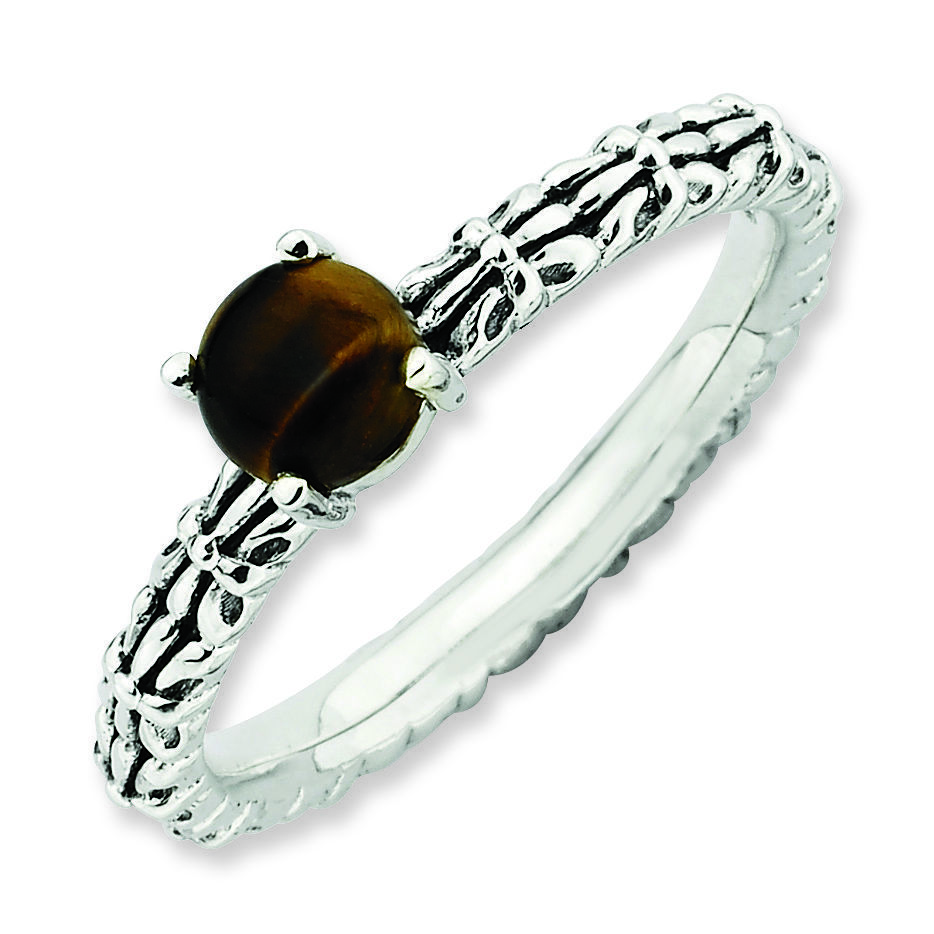 Picture of Silver Antiqued Ring Natural Tiger's Eye Stone