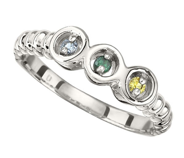 Picture of Silver 1 to 7 Stones Mother's Ring
