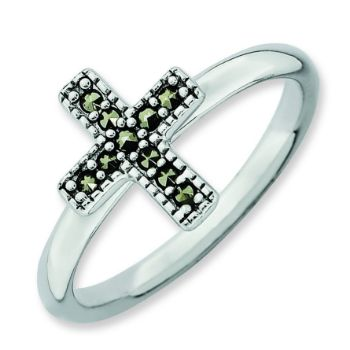 Picture of Silver Stackable Expressions Marcasite Cross Ring