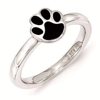 Picture of Silver Ring Paw Print  Black Enameled