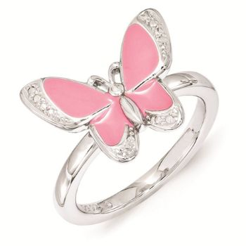 Picture of Silver Butterfly Ring Pink Enameled White CZ
