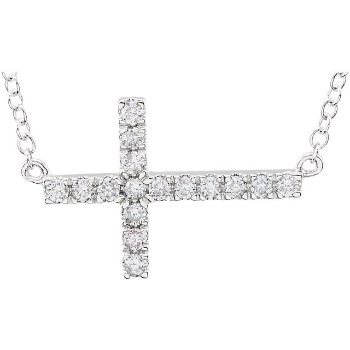 Picture of Diamond Sideway Cross Necklace
