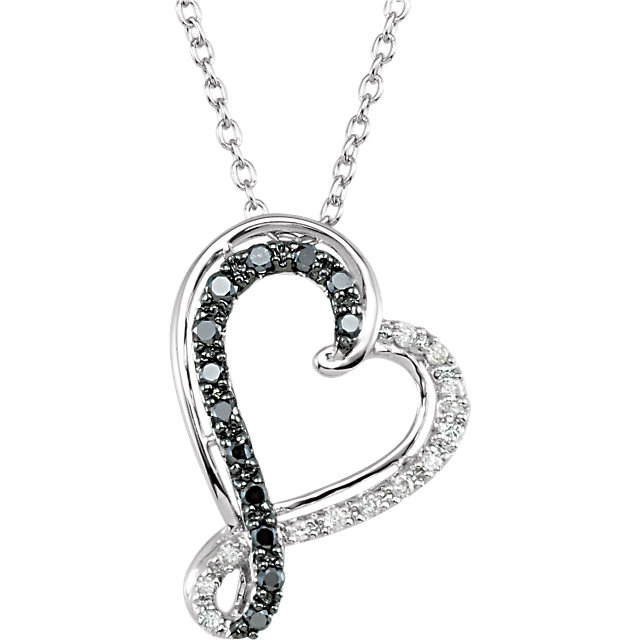 Picture of Black & White Diamond Heart Silver Necklace