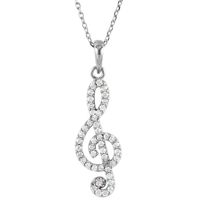 "Picture of Petite Treble Clef Diamond 16"" Necklace"