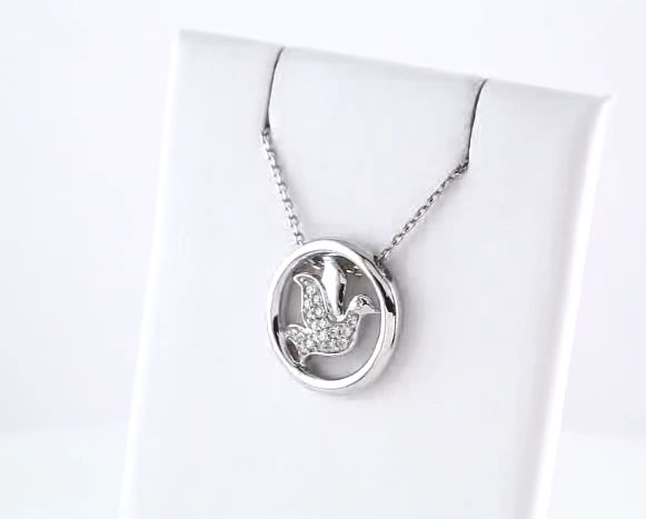 Picture of Sterling Silver Diamond Circle Dove Necklace