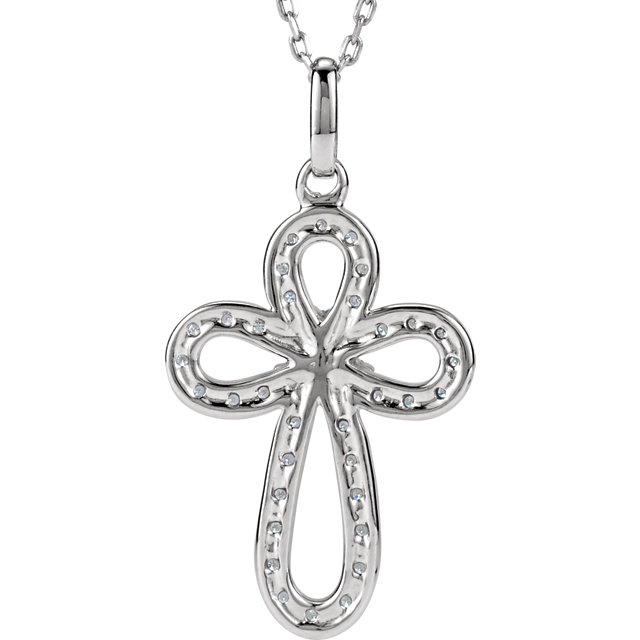 Picture of Sterling Silver Diamond Cross Necklace