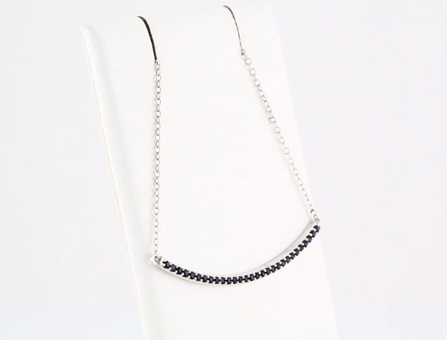 Picture of 14K White Gold Blue Sapphire Bar Necklace