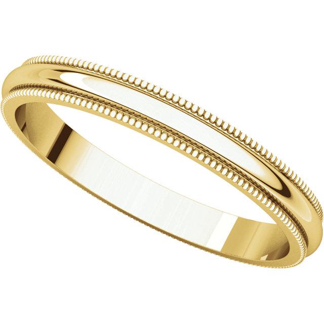 Picture of 14K Gold 2.5 mm Milgrain Wedding Band