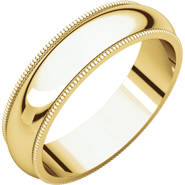 Picture of 14K Gold 5 mm Milgrain Comfort Fit Band