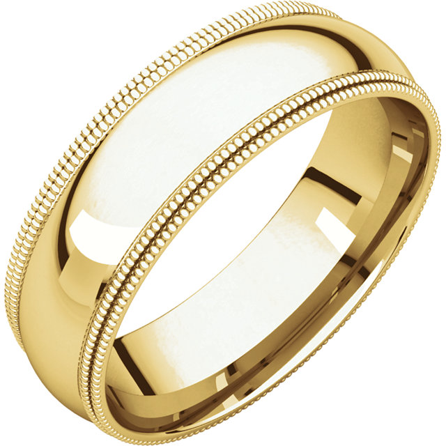 Picture of 14K Gold 6 mm Comfort Fit Double Milgrain Band