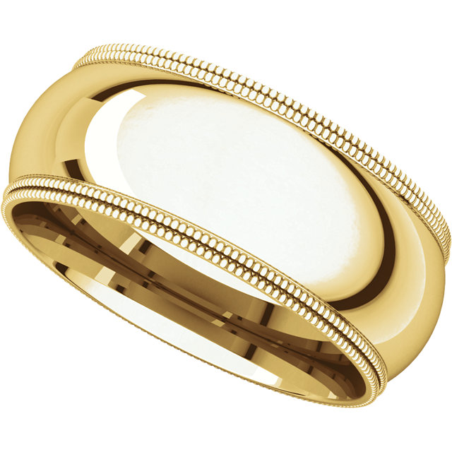 Picture of 14K Gold 8 mm Comfort Fit Double Milgrain Band