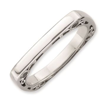 Picture of Silver Rhodium Plated 2.25 mm Square Ring