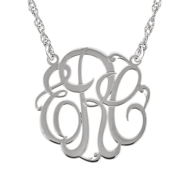 Picture of Small 15 mm 3-Letter Script Monogram Necklace