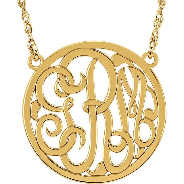 Picture of Medium 25 mm 3-Letter Script Monogram Necklace